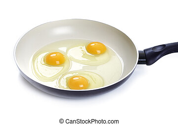 Three eggs in a frying pan, white background