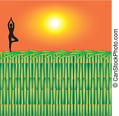 Bamboo decoration - Illustration of yoga advertisement...