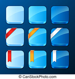 Set of the app icons with ribbons and banners.
