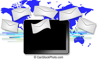 Black tablet with email symbols with blue world map background