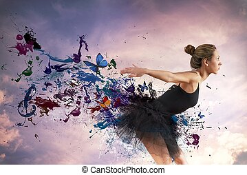 Dancer - Girl dancing during sunrise with motion effect