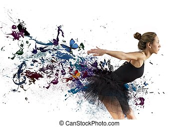 Dancer - Girl dancing with motion effect on white background