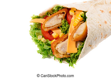 Chicken wrap isolated - Tasty fried chicken wrap isolated on...