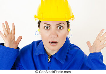 Protective Equipment - A expressive woman wearing protective...