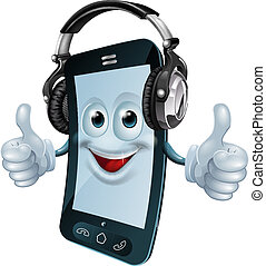 Headphones cell phone - A mobile phone cartoon man with dj...