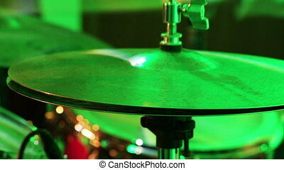 Playing the drum set - Hi-hat, bass drum pedal, plate