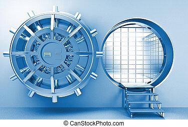 vault - 3d image of huge door of vault