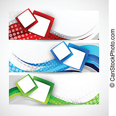 Set of abstract wavy banners with squares