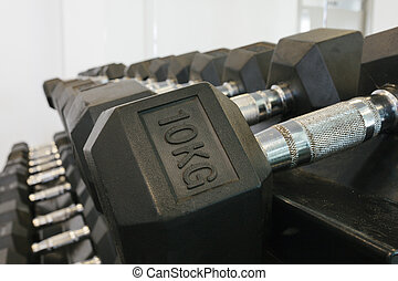 Dumbells - Close up of dumbbell rack