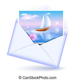 Envelope and card with image sailboat - Open envelope and...