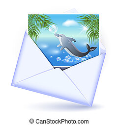 Envelope and card with image dolphin