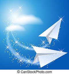 Two paper airplane fly up in the sky