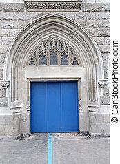 Blue entrance door