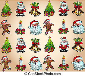 Christmas Wallpaper with Various Design Elements