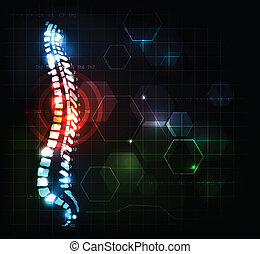 Backache concept - Colorful spine. Backache concept....