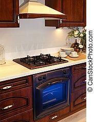 Detail kitchen - Detail of retro wooden kitchen interior...