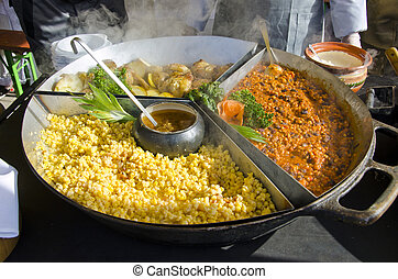 big plate with hot food in  agriculture market