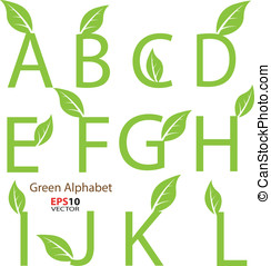 Creative design of eco-related decorative alphabet for...