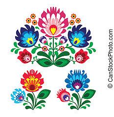 polska, blommig, folk, broderi, patte