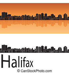 Halifax skyline in orange background in editable vector file