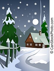 Illustration of house in snow forest