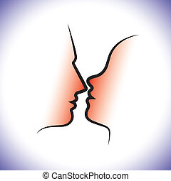 Man and woman couple, kissing each other with intimacy and...