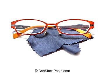 Eyeglasses glasses on white - Fashionable orange eyeglasses...