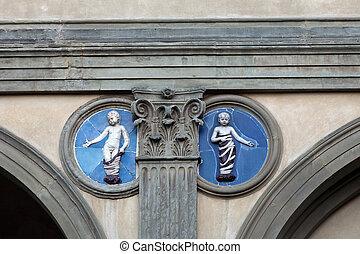 Piazza della Santissima Annunziata in Florence. Ospedale...