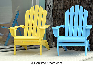 Sun Chairs - A wooden sun chairs in holiday home during...