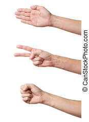 Rock Paper Scissors game - Three hand gestures isolated on...