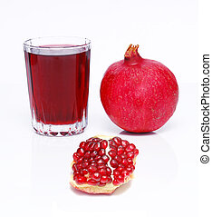 pomegranate juice - juce and pomegranate over white