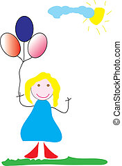Girl with balloones