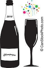 Champagne and glass - Vector illustration of bottle of...