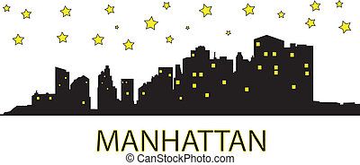 Manhattan at night - Yellow stars over the Manhattan.