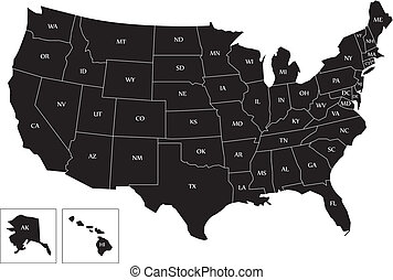 Black map of USA - Map of the USA with name of each states...