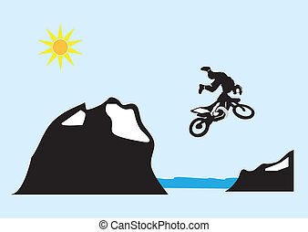 Motocross bike jump over the mountain.