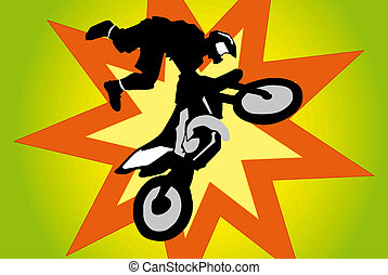 Motocross biker in big jump.