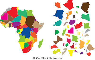 Africa continent puzzle - Detail illustration of color map...