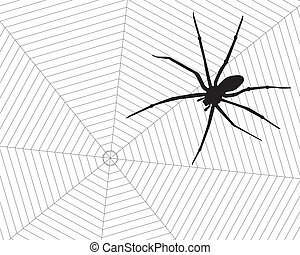 Spider and web. - Poisonous black spider in his web.