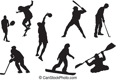 Sport icons - Silhouette of sportsmen in various kind of...