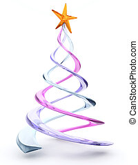 Glass spiral Christmas tree - 3D render of a glass spiral...