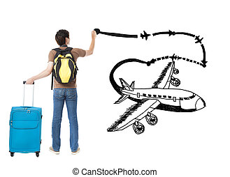 young traveler drawing airplane and airline path on the...