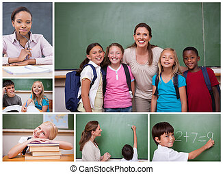 Collage of primary school pupils and teachers in the...