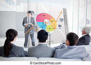 Business people listening and looking at colorful pie chart...
