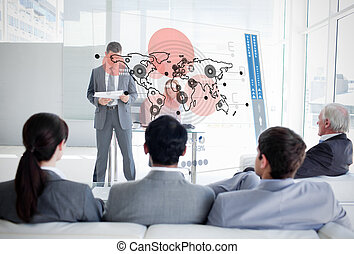 Business people listening and looki