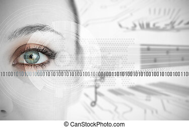 Eye of woman next to binary codes close up on circuit board...