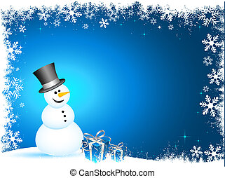 Happy snowman with gifts on snowflake background