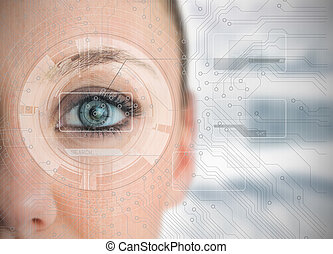 Close up of woman eye analyzing charts with circuit board...