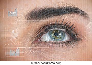 Beautiful woman eye analyzing chart interfaces