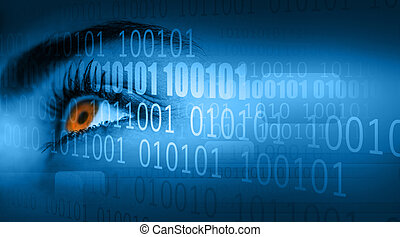 Woman looking away on binary code background - Close up of...